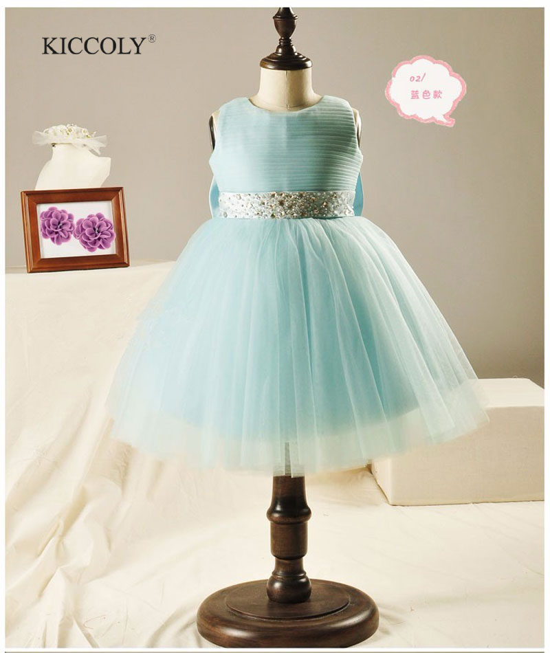 Elegant Girl Wedding Dress 2015 Fashion Girls Great Quality Purple Bow Diamond Belt Tulle Party Princess Dresses,12M-10Y<br>
