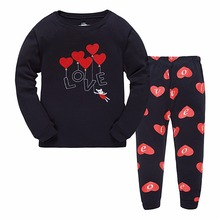 Sweet Red heart Embroidery T-shirts + Pant Girls Pajamas sets 100% Cotton Kid's Sleepwear All New Winter Children's Outfits AC89(China)