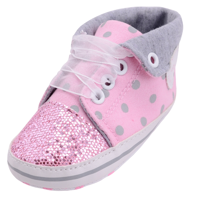 Infant Newborn Baby Girls Boy Glitter Polka Dots Autumn Lace-Up First Walkers Sneakers Shoes Adorable RibbonToddler Canvas Shoes 10