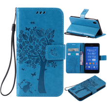 For coque Sony Xperia Z3 case For Fundas Sony Z3 D6603 D6643 phone cases Tree Cat Pattern Wallet Magnet Flip Cover Leather Case(China)