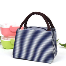 Fashionable Striped Women Lunch Bag High Quality Nylon Lunch Box Make up Bag Casual Tote Shopping Bag Durable Top-handle Handbag