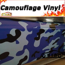 Large Blue Black White Camouflage Vinyl Wrap Foil Snow Camo Film With Air Free Truck Vehicle Cover Wrapping Matte/Glossy Finish