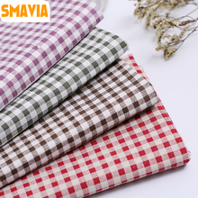 SMAVIA Red Grid Non-woven DIY Fabric Cotton& Linen Printed Pitchwork Cloth width 150cm Fabric anti-dirty Cover table cloth 1pc(China)