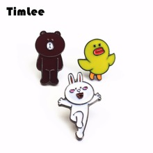 Timlee X101 Free shipping Cartoon Cute Bear Rabbit Chicken Metal Brooch Pins Button Pins Fashion Jewelry Wholesale