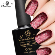 Saviland 1pcs 10ml Shimmer Platinum UV Gel Shining Nail Gel Polish Long-lasting UV Fingernail Gel Soak-off LED Color Gel