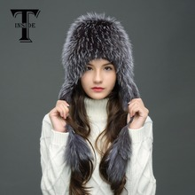 T-INSIDE High-Quality Winter Fur Hats for Women Silver Fox Fur Hat with Fur Tails Pom Pom Knit Beanies with Lining