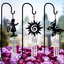 Potted flower arrangement decorative wind chimes metal iron crafts pure black butterfly flower fairy wind chime ornaments(China)