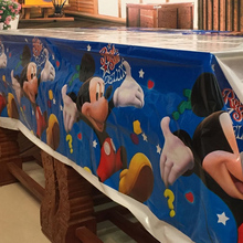 108cm Blue Mickey Mouse Plastic Tablecloth for Cartoon kids happy birthday party plastic tablecover supplies disposable