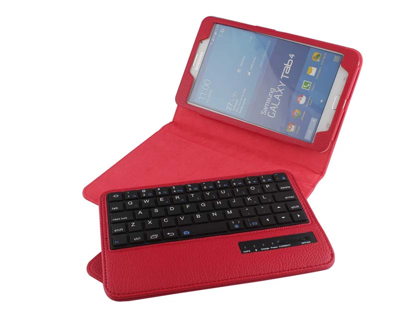 Removable Wireless Bluetooth Russian/Hebrew/Spanish Keyboard Stand PU Leather Case For Samsung Galaxy Tab 4 7.0 T230 T231 T235<br>