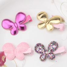 Baby Cute Style Children Accessories Hairpins Leather Shiny Star Heart Butterfly Kids Girls Barrette Lovely Hair clip(China)