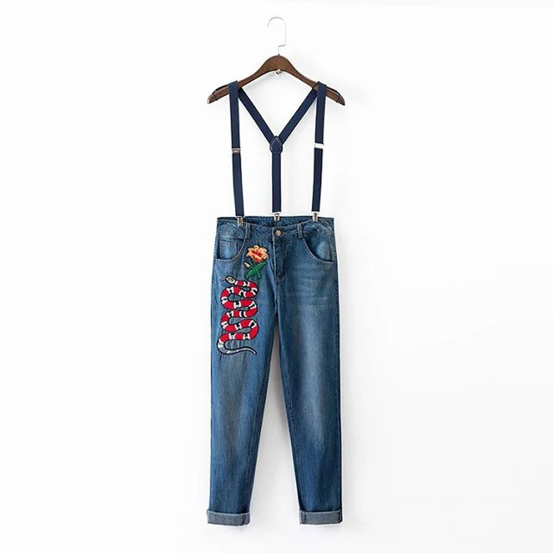 2017ss new woman blue trousers with snake flowers embroidery denim jeans overalls Îäåæäà è àêñåññóàðû<br><br>