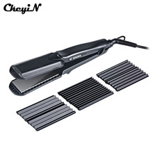 100-240V Professional Interchangeable 4 in 1 Ceramic Hair Crimper Straightener Corn Waver Corrugated Iron Plate with Glove(China)