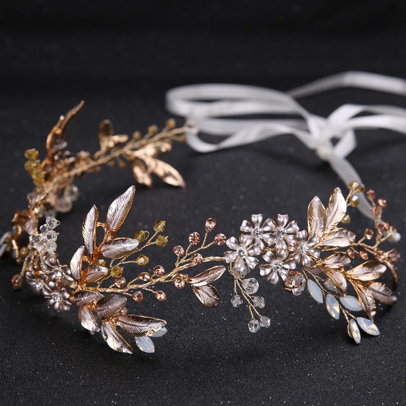 Leaf Headband baroque Bridal Hairbands Crown Headpiece Headdress Wedding Hair Accessories Bride Tiara Jewelry 2