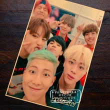 Color YOUNG BTS Fire Korea Group Music Poster Decorative DIY Wall Stickers Home Posters Bar Art Cool Decor Gift