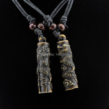 Cool Boy Men's Yak Bone Carving Cylindrical Totem Dragon Pendant Necklace Ethnic Wood Beads Necklace Amulet Lucky Gift YN112