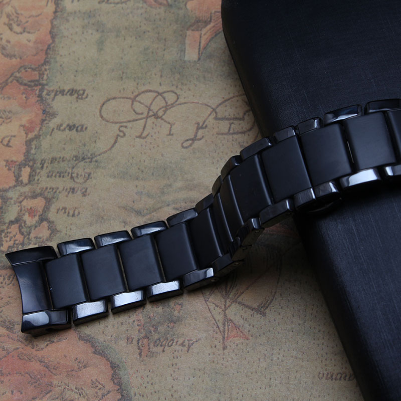 Brand Style Watchband a r1452 Black Ceramic curved end 22mm mens watch accessories bracelet black deployment buckle never fade<br>