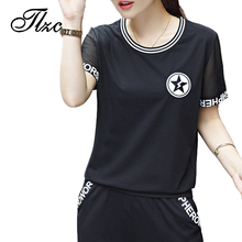 TLZC 2017 Black / White Women Tracksuits Sets Plus Size M-4XL Summer Casual Lady Cotton Suit Set 2 pieces ( T-shirts + Pants )(China)