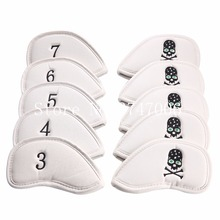 10Pcs Golf Club Iron Headcover Head Covers Slap-up Pu With Skull Number Golf Protection Set Embroidered Iron Club Covers White
