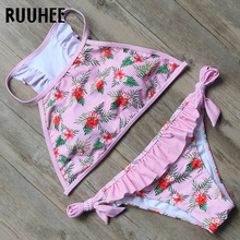 Buy RUUHEE Bikini Swimwear Women Swimsuit Sexy High Neck Bikini Set 2018 Halter Bathing Suit Push Ruffle Beachwear Swimming Suit