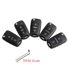 LARATH Car Key Shell Replacement 3 Buttons Kia  Rio Picanto Sportage K2 K5 Flip Remote Key Case Blank Cover TOY40 blade +LOGO