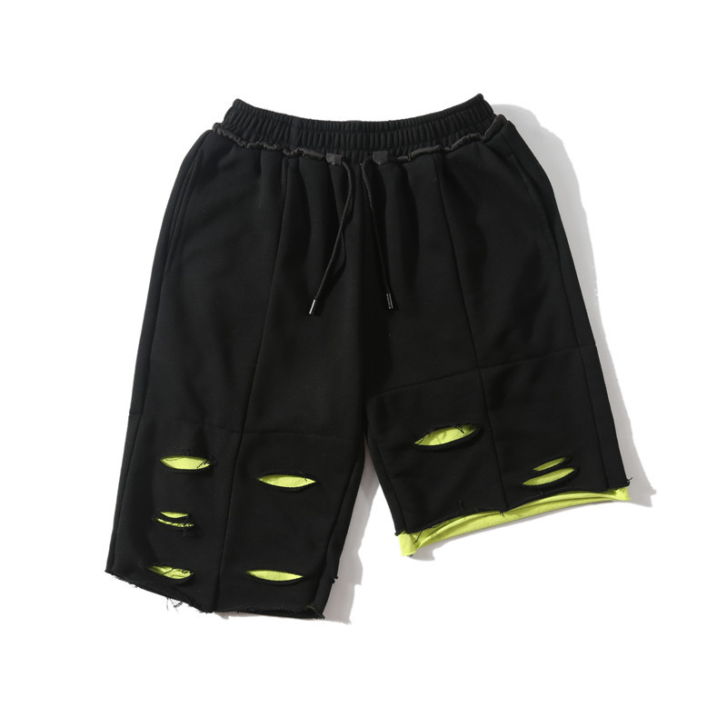 Summer 2019 New Men High Street Hole Length Shorts