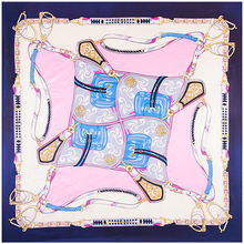 Euro style Silk 90cm*90cm Square Scarf hijab Women Brand Imitated Silk France Belt and Saddle Chain Print Scarves Shawl