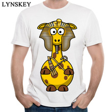 LYNSKEY Cartoon Giraffe Graphic T Shirts For Men 2XL Oversized Pure Cotton Normal Tops Shirt Summer/Autumal Good Market T-Shirt(China)