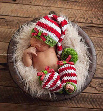 Christmas Gifts Handmade Costumes Baby Beanies Knitted Crochet Elf Hats and Leg Warmer Winter Sets Newborn Photo Props