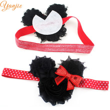 Minnie Headbands For Girls 2017 Hair Accessories Black Shabby Chiffon Flowers Hair Bnad Mini Sequin Bow Glitter Elastic Headband