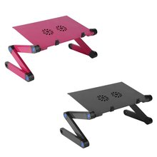 Adjustable Aluminum Alloy Computer Desk Foldable Adjustable Laptop Table Notebook Stand Tray With Dual Fan & Mouse Plate(China)