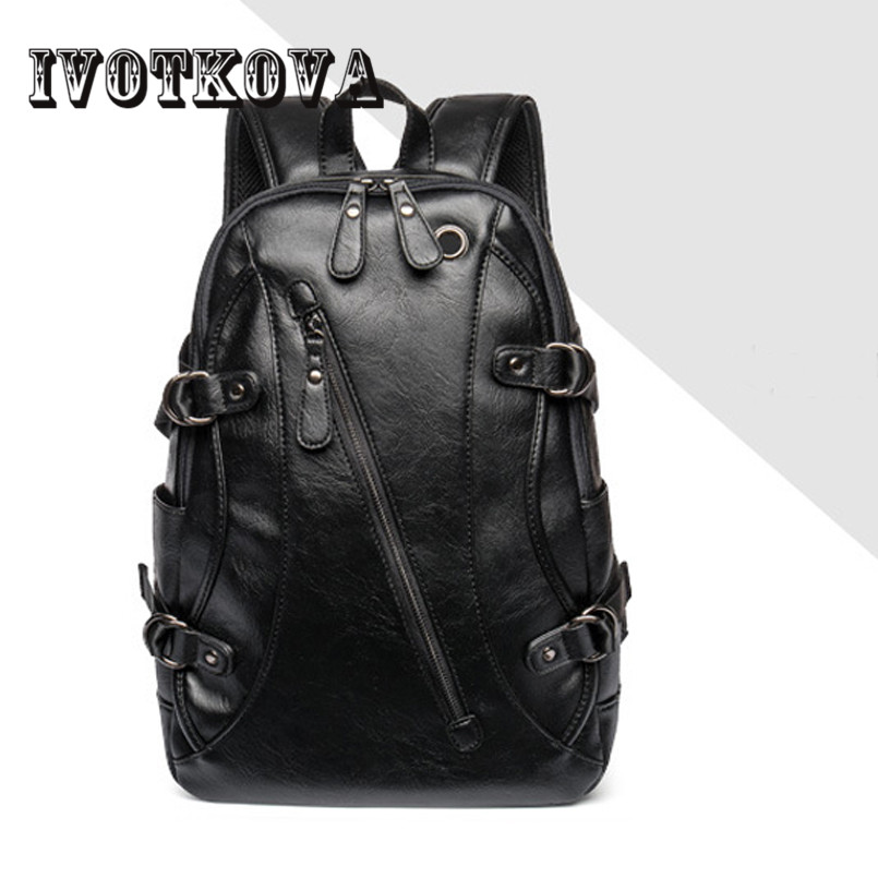 IVOTKOVA  High Quality Practical PU Leather Mens Backpack Famous Brand Casual Men Laptop Backpack Black School Travel Backpack<br>