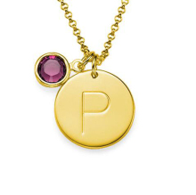 Gold Supplier Wholesale Custom Stainless Steel Initial Charm Pendant Necklace With Birthstone