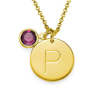 Gold Supplier Wholesale Custom Stainless Steel Initial Charm Pendant Necklace With Birthstone(China)