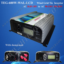 600w LCD Display wind inverter on grid tie, grid micro inverter600w, 12v/24v AC to 120v/220v/240v AC grid connect wind inverter