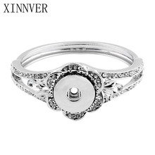 Buy Flower Silver Plated Bangles Crystal 18mm Snap Bracelet Metal Snap Jewelry DIY Snap Button Bracelet Women Men for $2.28 in AliExpress store