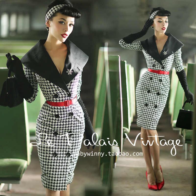 45- Le palais vintage women 50s houndstooth long wiggle pencil shirt dress  pinup vestido plus 915d6616b7f4