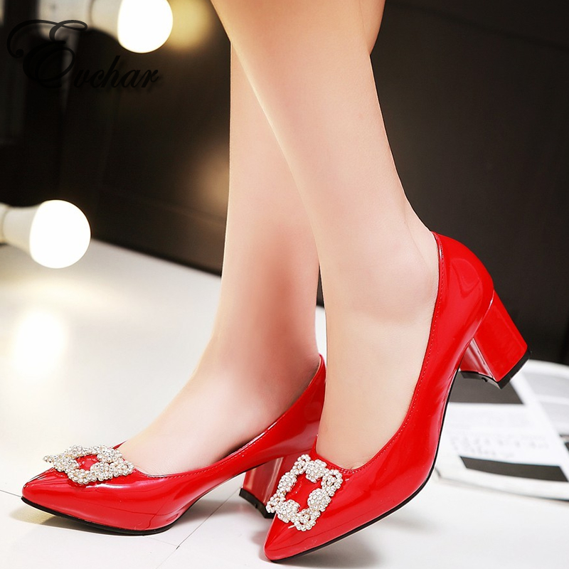 Fashion new candy color womens PU shallow mouth thick med heel wedding shoes crystal pointed toe  lady pumps   Size 32-45<br><br>Aliexpress