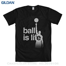 "Brand Cotton Men Clothing Male Slim Fit T Shirt Basketballer ""ball Is Life"" Men's T-shirt(China)"