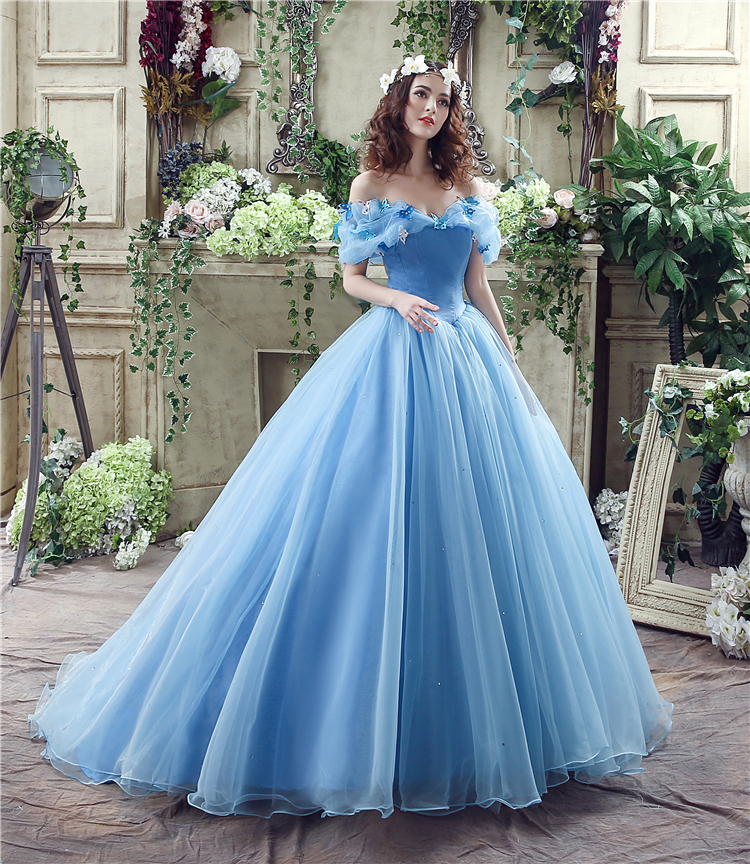 2015 New movie Cinderella Princess Dress Gorgeous Costume cosplay halloween costumes for women Custom-made