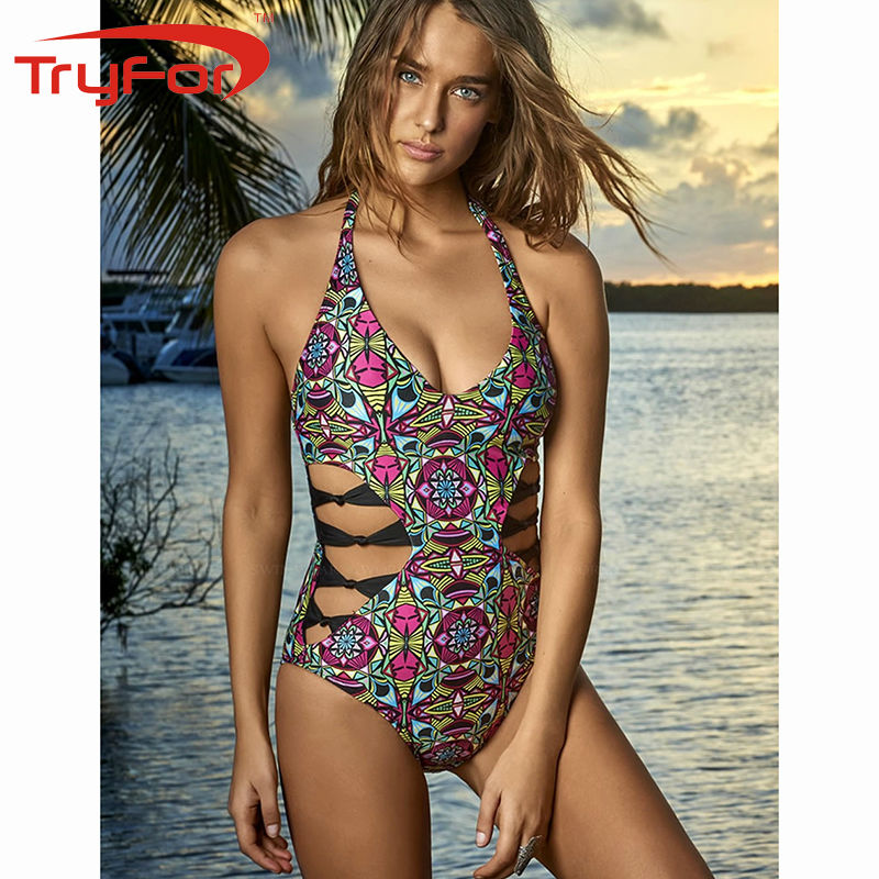 Tryfor New Ladies One-piece Swimsuit Polyester And Spandex Printing Women Swimwear 121-D846<br>