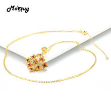 MoBuy MBNI029 Flower Natural Gemstone Red Garnet Weddding Necklaces & Pendant 925 Sterling-Silver-Jewelry 14K Yellow Gold Plated