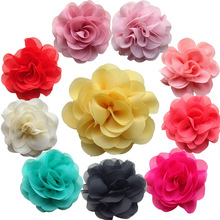 "20pcs flat back 3.15"" fabric chiffon flowers hair flowers for making headbands DIY carft wedding appliques"