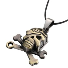 Stainless Steel Skull Pendant Leather Necklace Jewelry Skull Chain Men's Stainless Steel Necklaces For Men Necklace&pendants