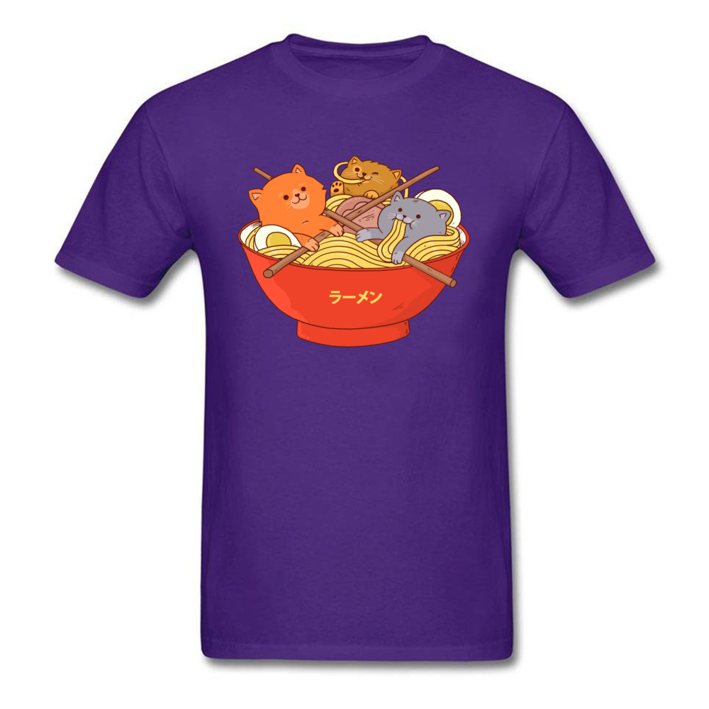 Custom Ramen noodles and cats Tees for Men 2018 Newest Lovers Day Round Collar Cotton Short Sleeve T Shirt Casual Tee Shirt Ramen noodles and cats purple