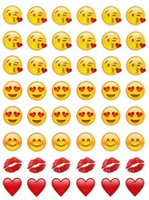 100 sheets kiss emoji (48 Die Cut emoji stickers)  sticker Most Popular funny For Mobile Phone Kids Home Dzfollow