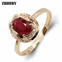 18K Rose Gold Ring 100% Natural Ruby Gemstone Genuine Diamond Woman Rings Elegant Fine jewelry(China)