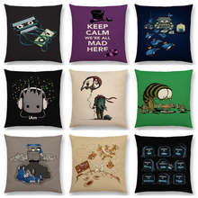 Super Fun Cartoon Magnetic Tape Mad Hat Robot Friends Clown Space Rabbit Monster Game Cushion Cover Decor Sofa Throw Pillow Case(China)