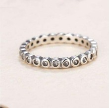 HOTwholesale retro silver 925 ring compatible with halo crystal name ring single woman zircon fashion jewelry ring ring cham
