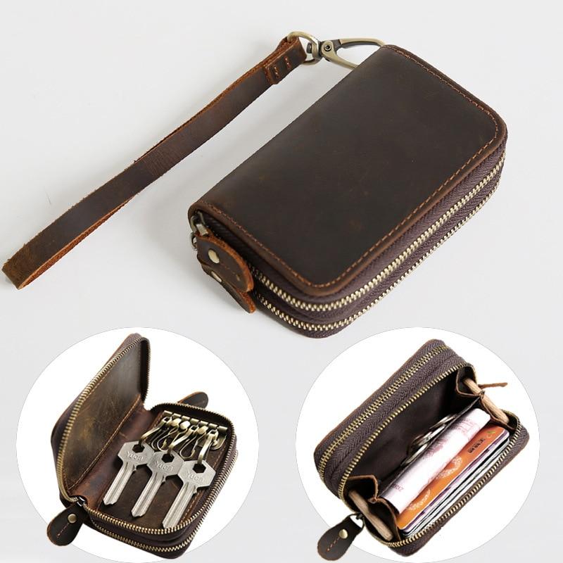 Men Women 12Hooks Zipper Knitted Leather Car Key Romote Case Keychain Holder Bag