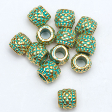 8mm 20 Pcs/lot Vintage Green and Gold Tube Bead Big Hole Tibetan Silver Spacer Beads for Bracelet Jewelry Making